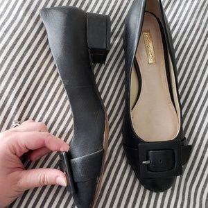 LOUISE ET CIE Black Buckle Block Heels